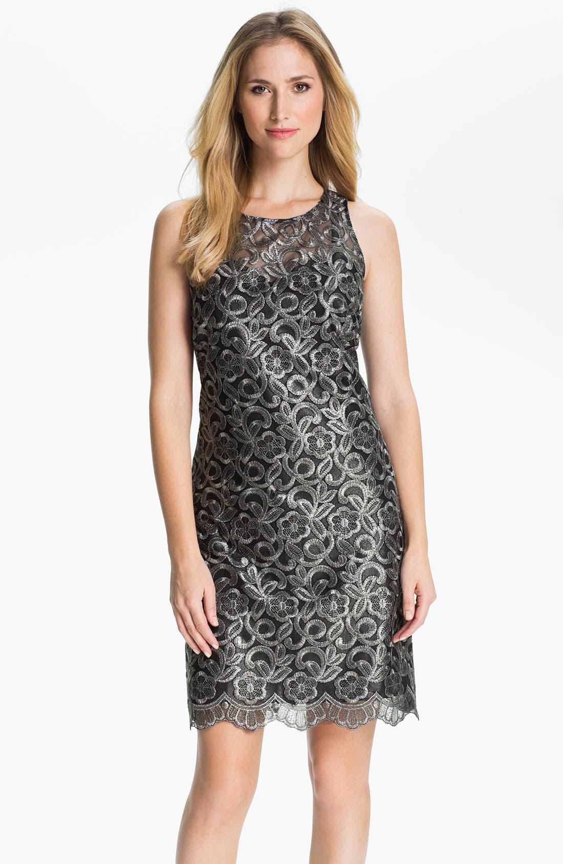 Main Image - Donna Ricco Metallic Embroidered Sheath Dress