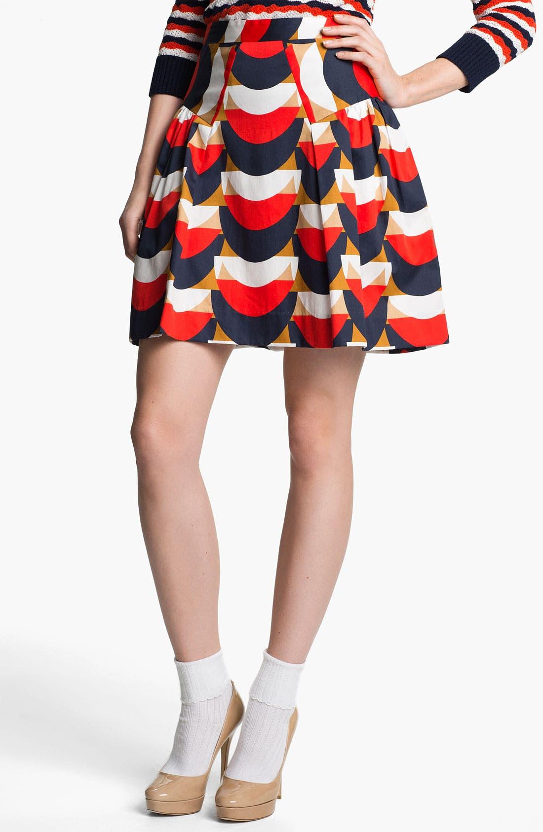 Print Skirt,                         Main,                         color, Persimmon