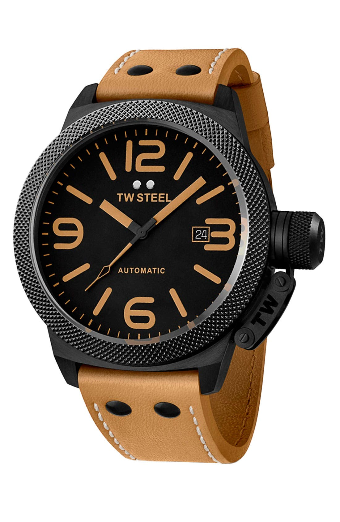 Alternate Image 1 Selected - TW Steel 'Canteen' Automatic Leather Strap Watch