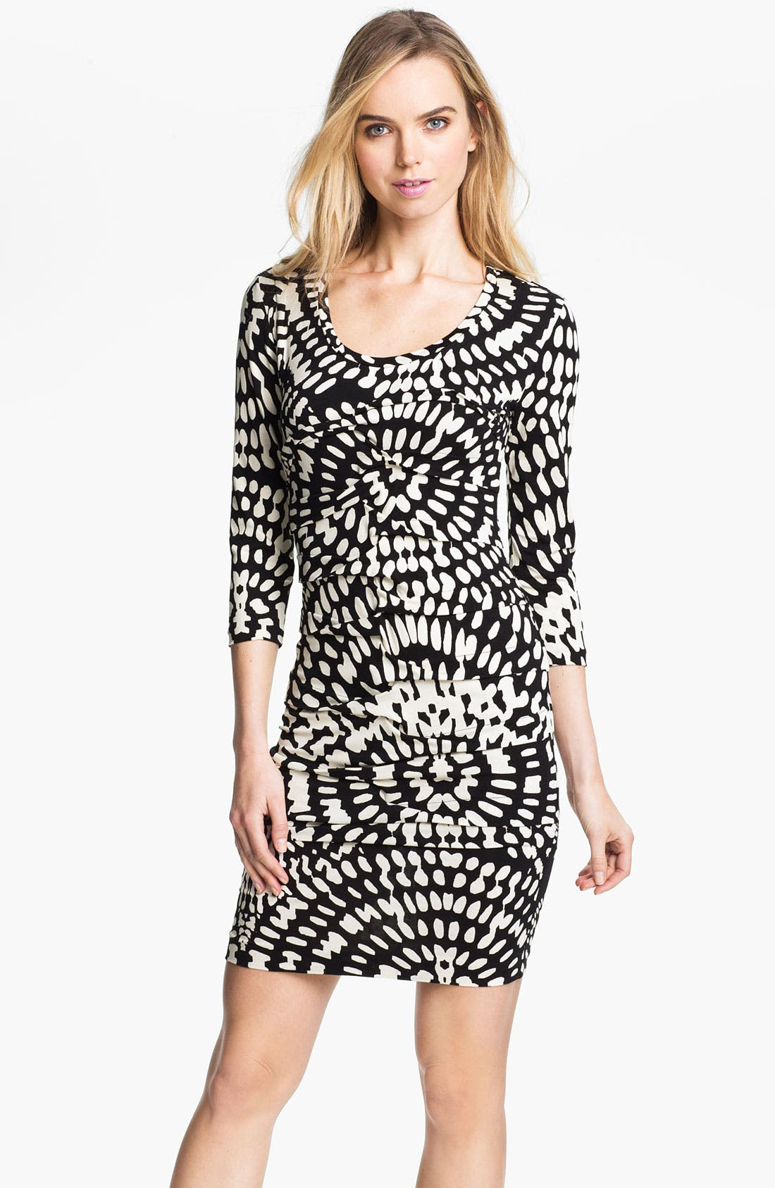 Main Image - Nicole Miller Mosaic Print Ruched Jersey Sheath Dress