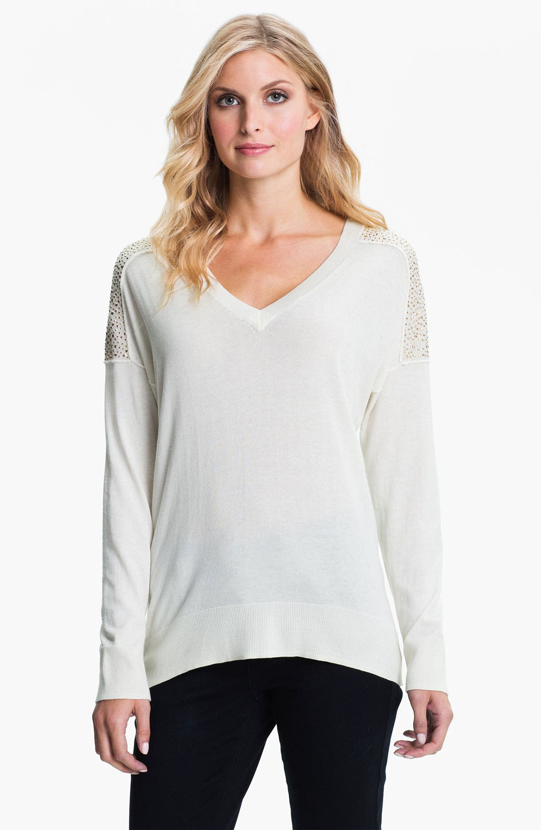 Alternate Image 1 Selected - MICHAEL Michael Kors Studded V-Neck Sweater (Petite)