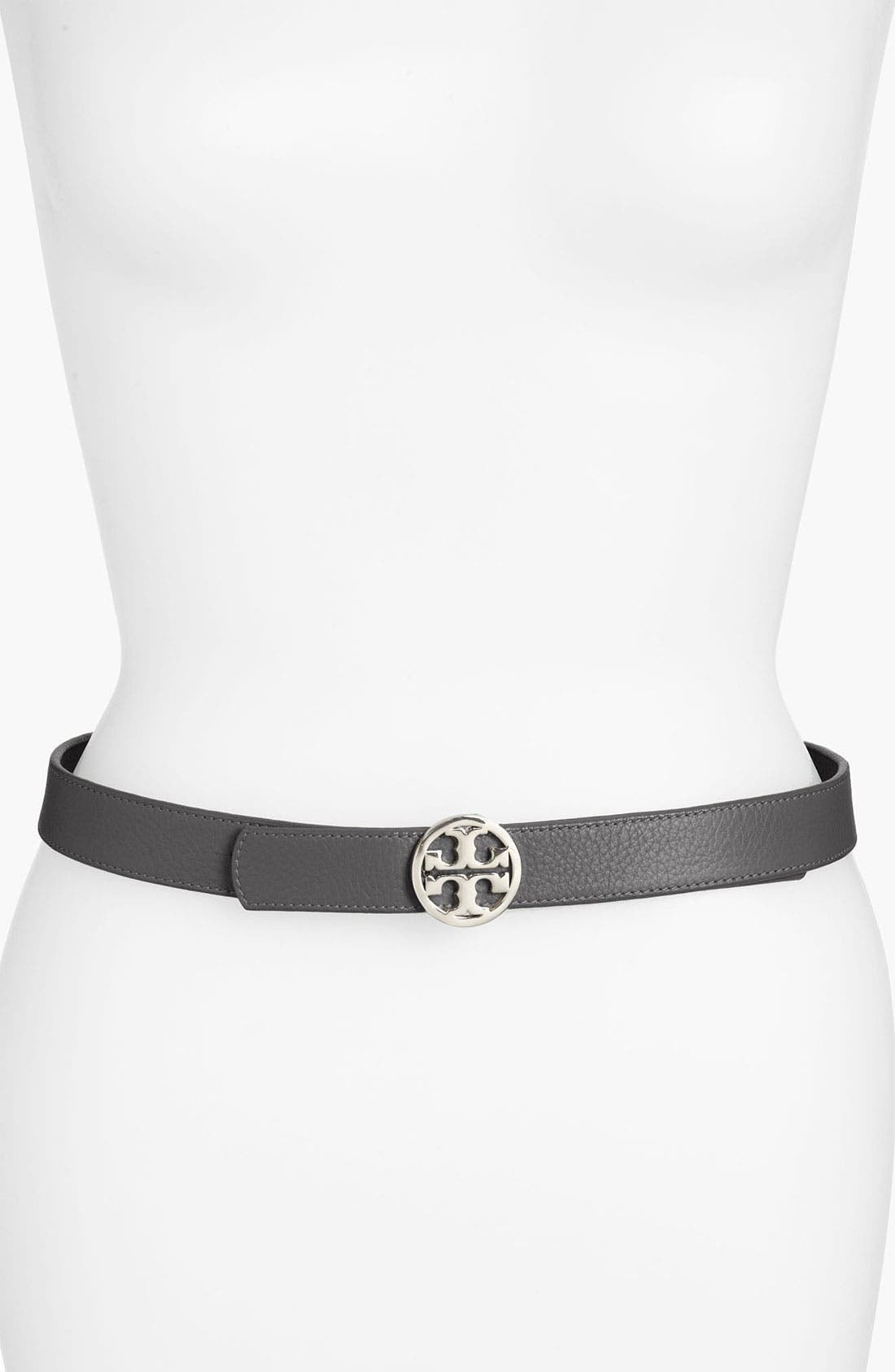 Main Image - Tory Burch 'Classic Tory Logo' Saffiano Leather Belt