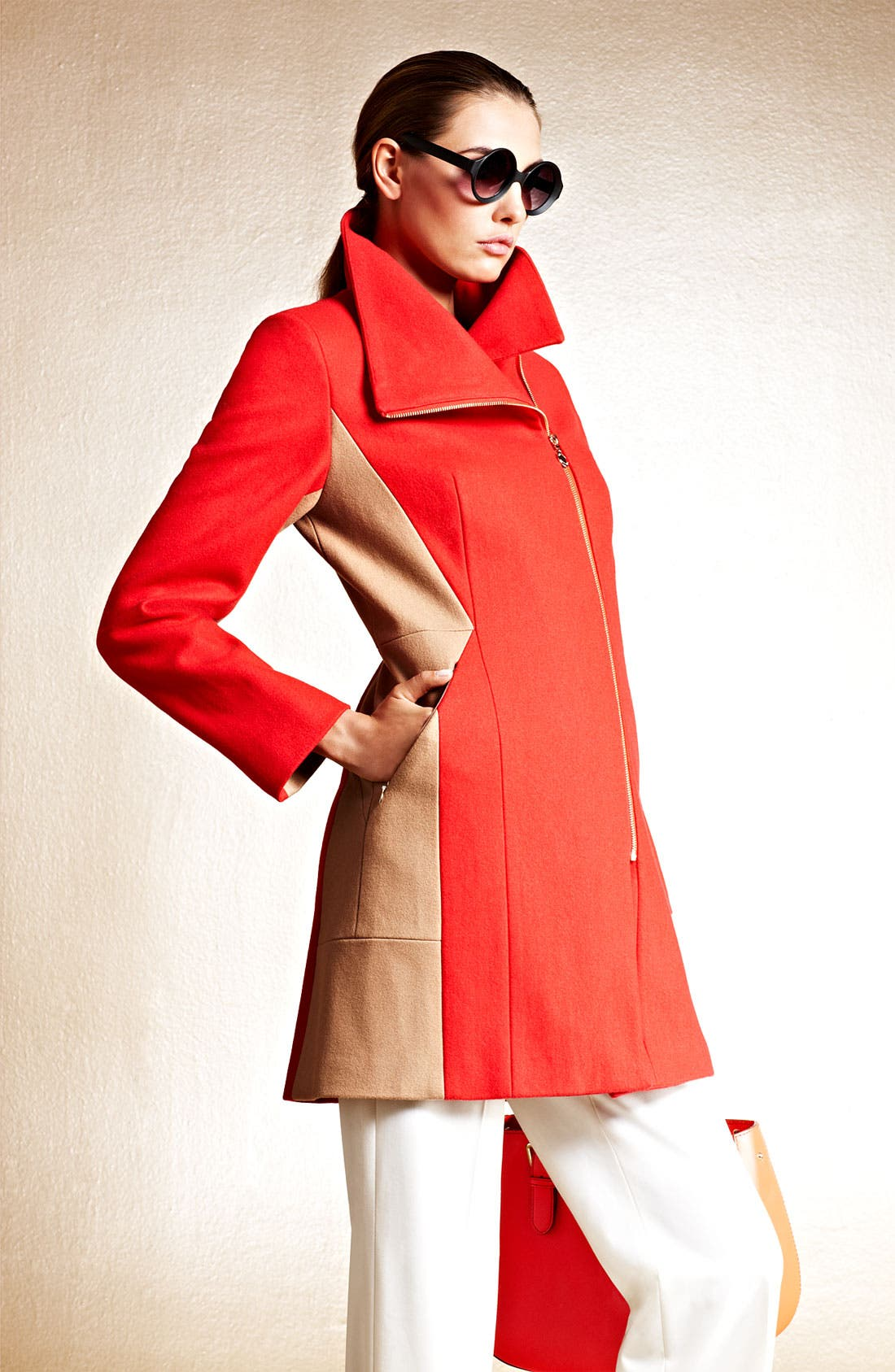 Alternate Image 5  - Calvin Klein Two Tone Asymmetrical Walking Coat