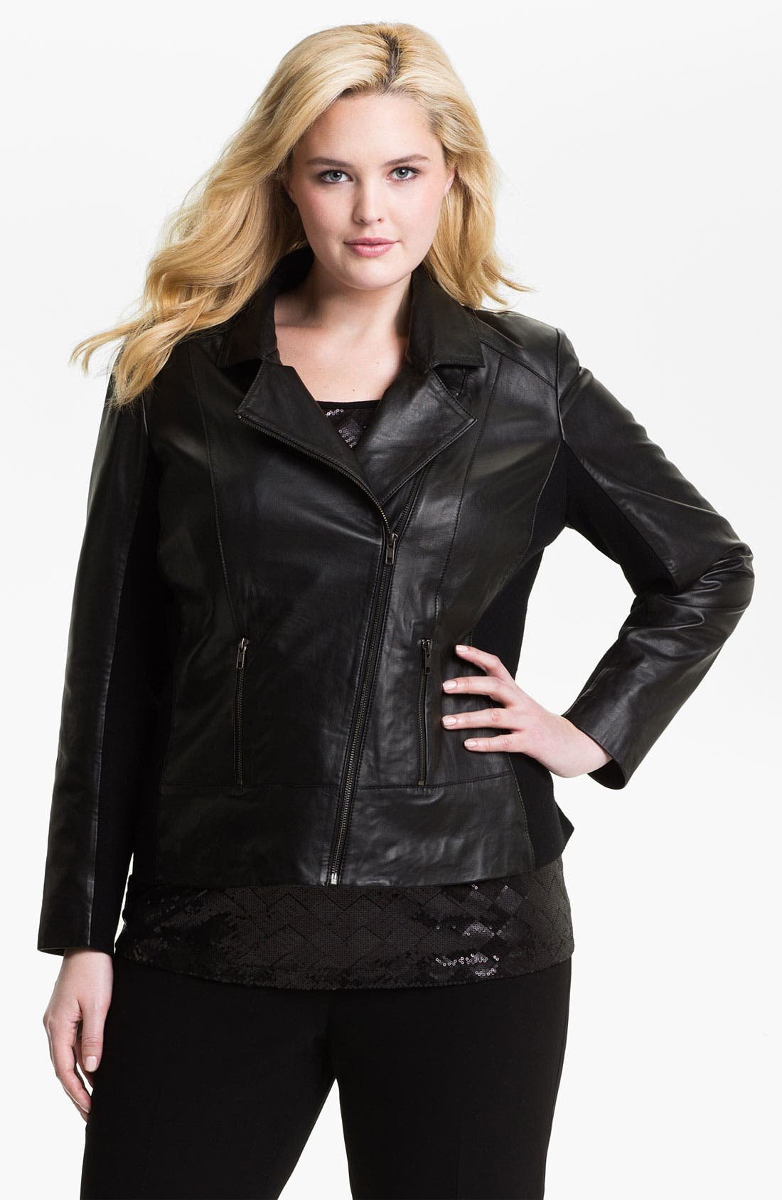 Alternate Image 1 Selected - Sejour Leather Motorcycle Jacket (Plus)