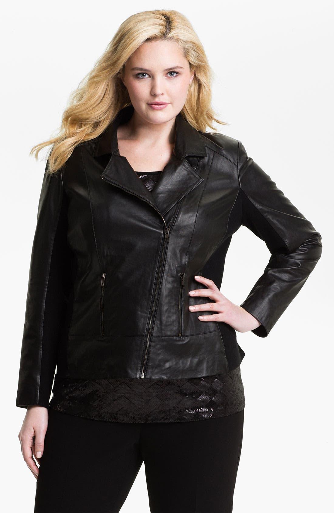 Main Image - Sejour Leather Motorcycle Jacket (Plus)