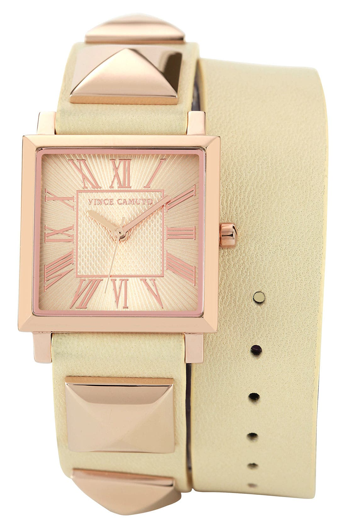 Alternate Image 1 Selected - Vince Camuto Double Wrap Leather Strap Watch, 27mm