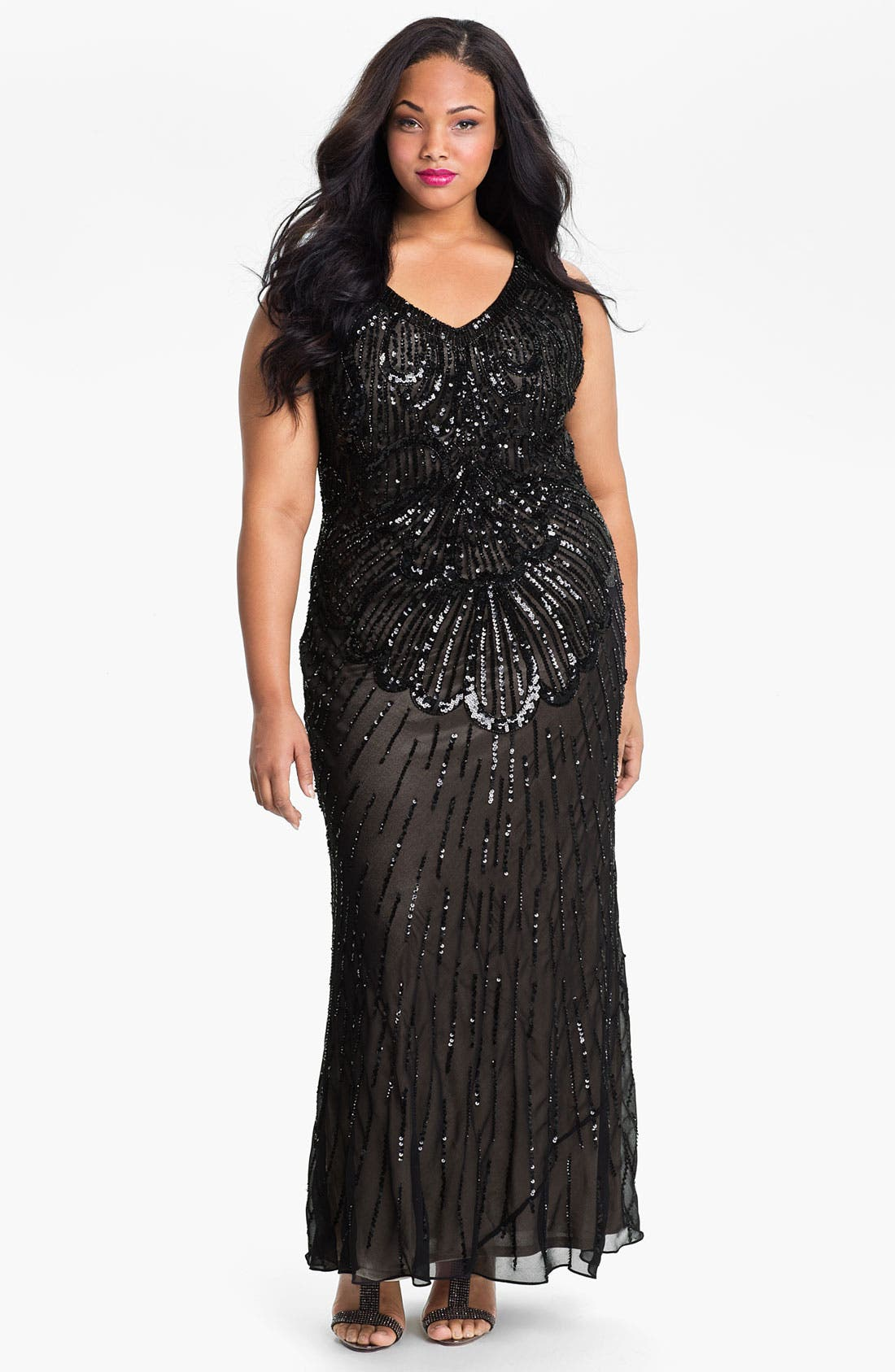Main Image - JS Collections Beaded Sleeveless Dress (Plus)