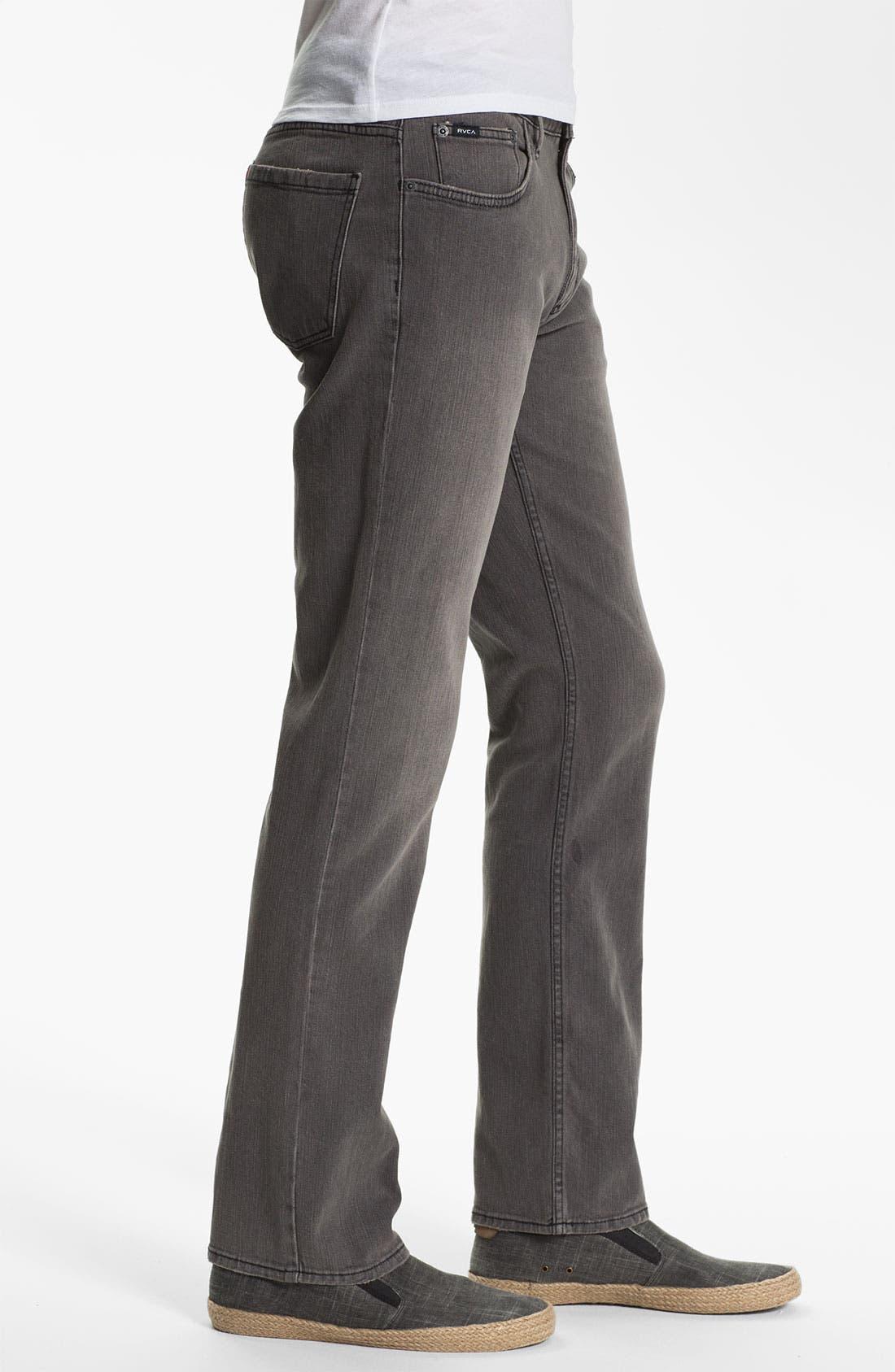 Alternate Image 3  - RVCA Slim Straight Leg Jeans (Grey Wolf)