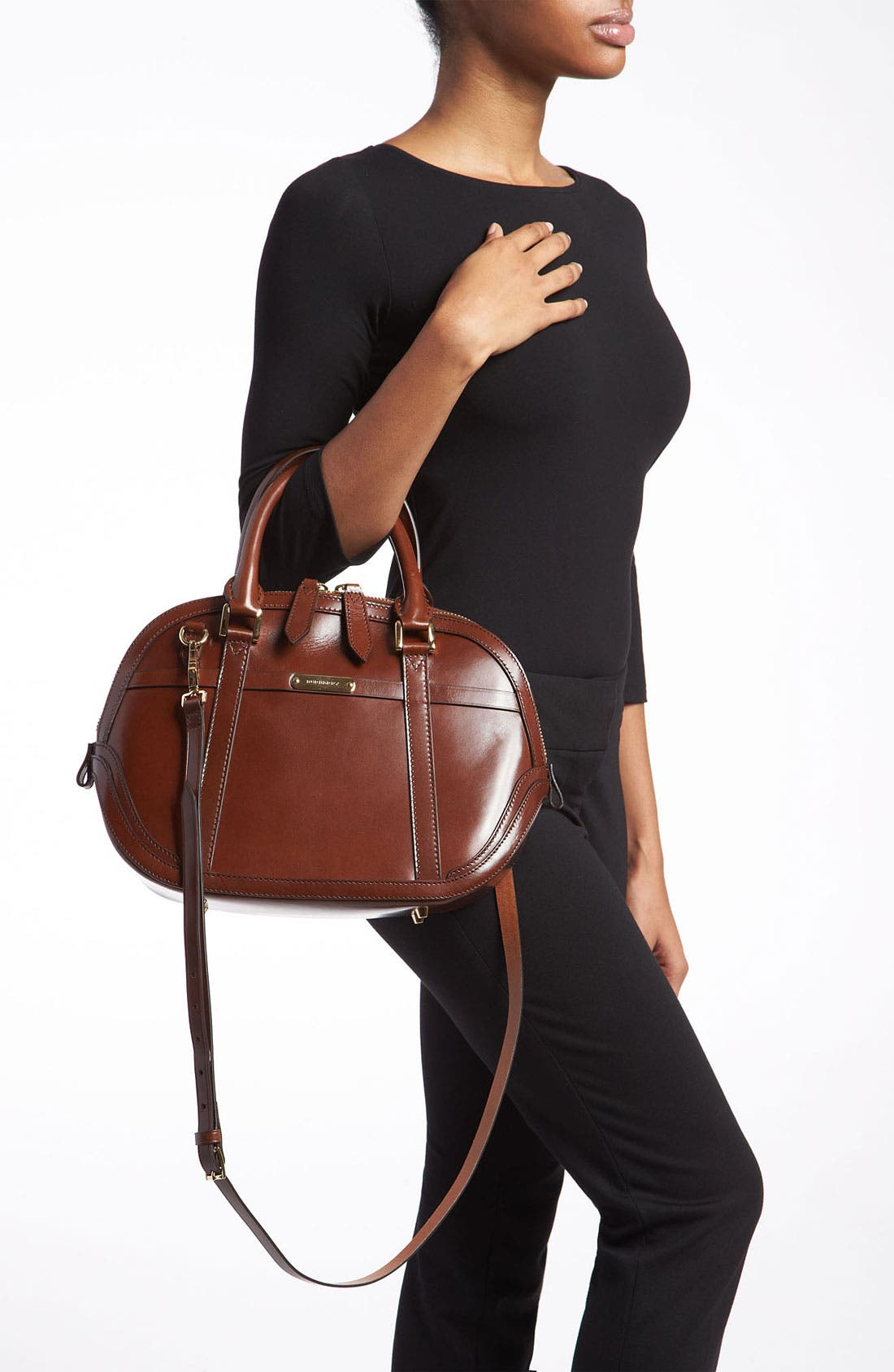 Alternate Image 2  - Burberry Glazed Leather Bowling Bag