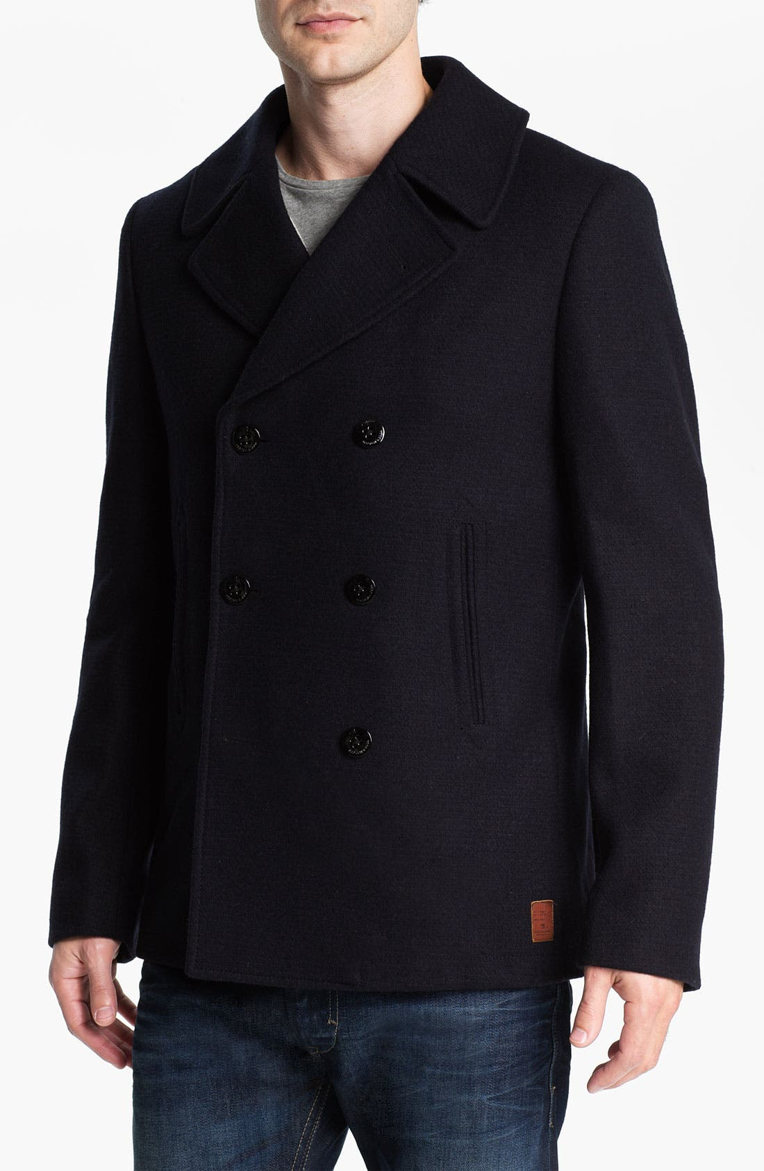 Alternate Image 1 Selected - Scotch & Soda 'Caban' Double Breasted Peacoat