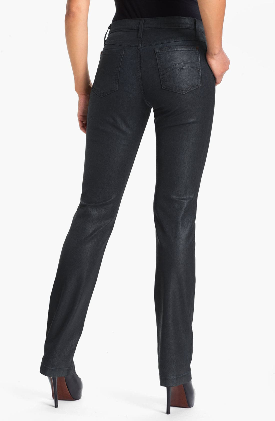 Alternate Image 2  - Second Yoga Jeans High Rise Coated Straight Leg Jeans