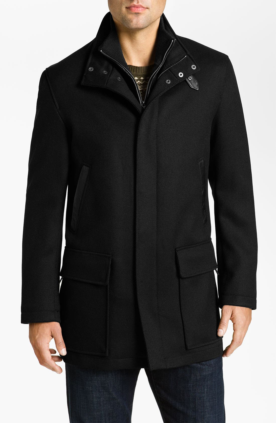 Alternate Image 1 Selected - Cole Haan Leather Trim Wool Twill Car Coat (Online Exclusive)