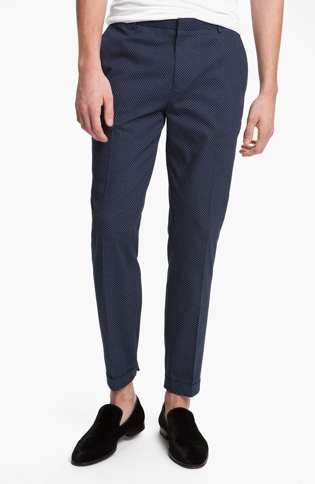Main Image - Topman Pin Dot Skinny Fit Trousers