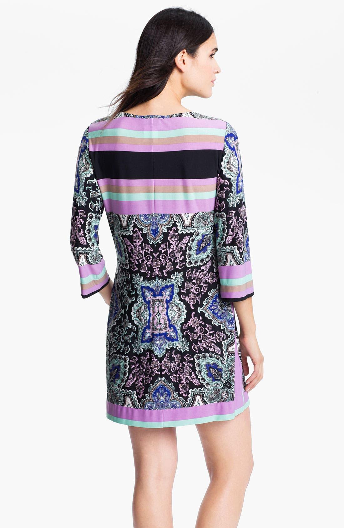 Alternate Image 2  - Donna Morgan Print & Stripe Keyhole Detail Knit Dress
