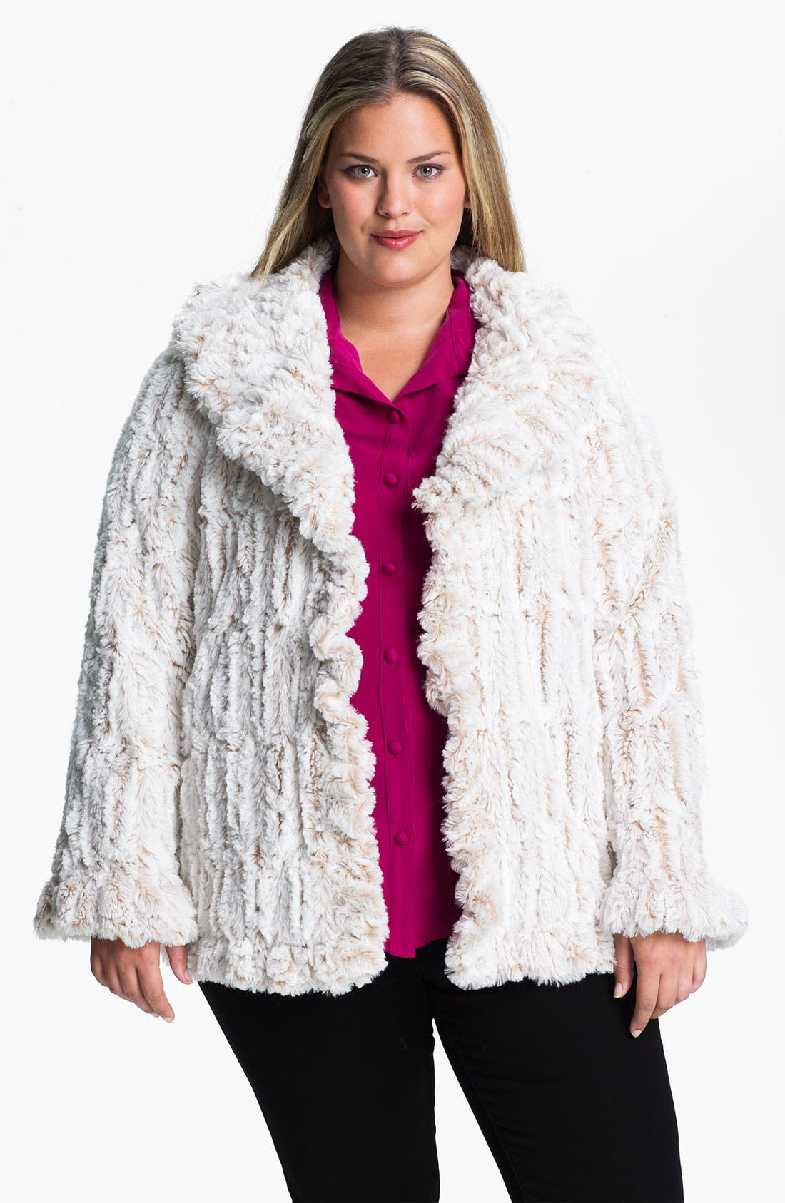 Main Image - Damselle Ruffled Faux Fur Jacket (Plus)