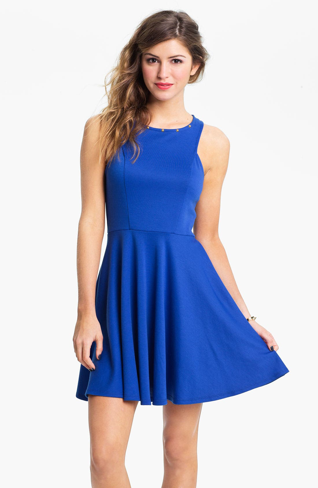 Alternate Image 1 Selected - Lush Stud Neck Skater Dress (Juniors)