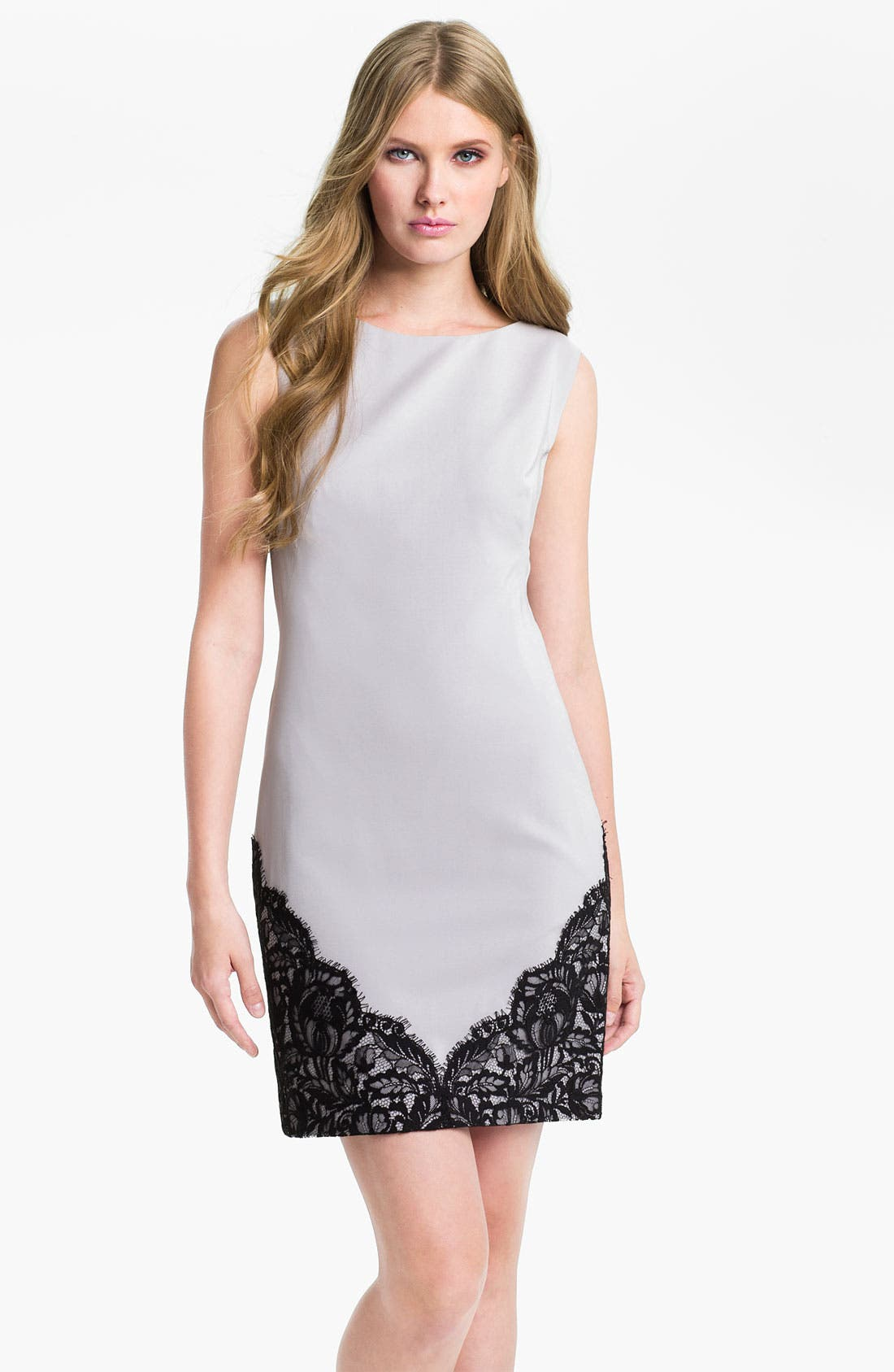 Alternate Image 1 Selected - Nicole Miller Sleeveless Lace Trim Sheath Dress