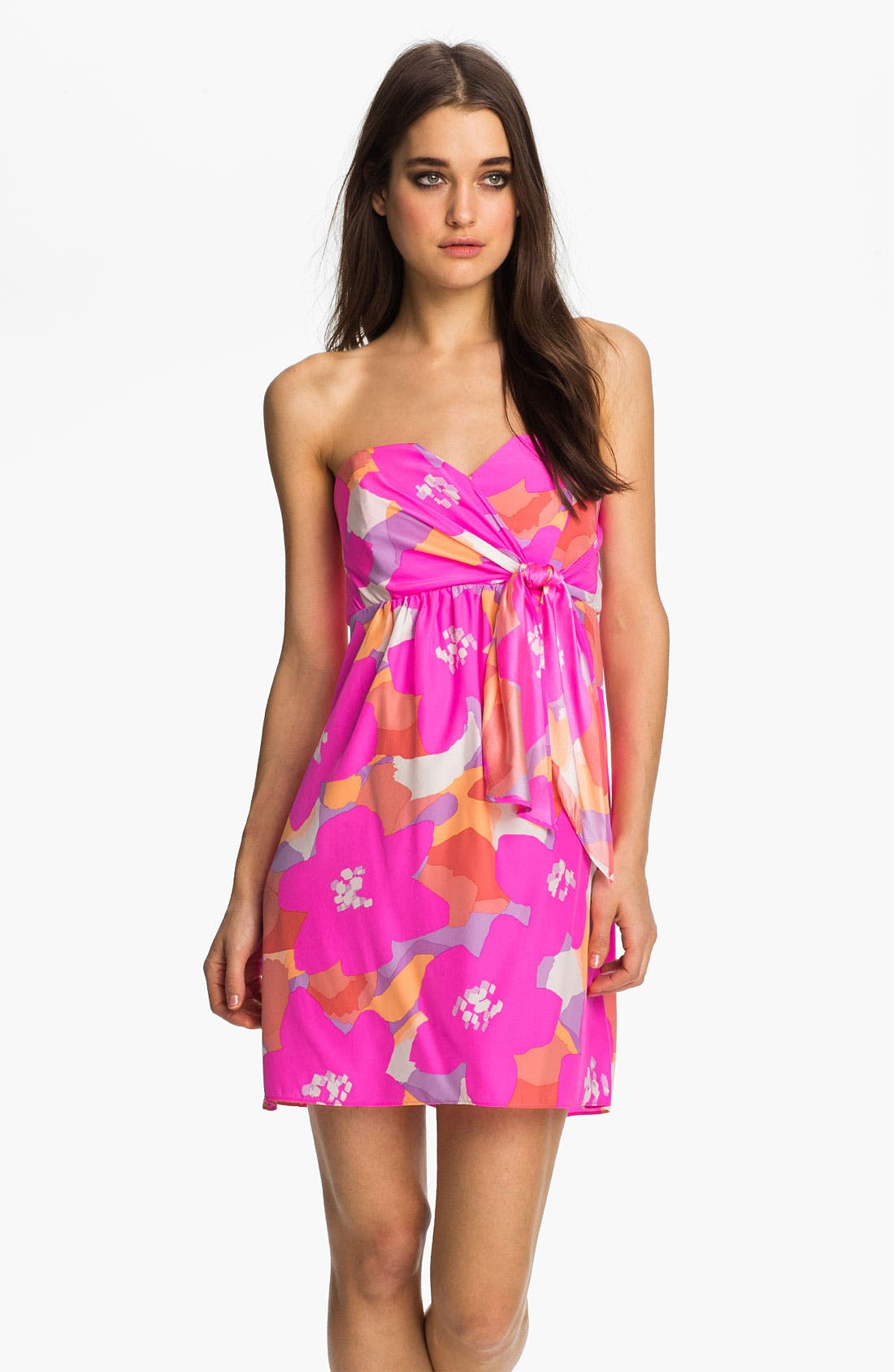 Main Image - ALICE & TRIXIE 'Amanda' Strapless Print Silk Dress