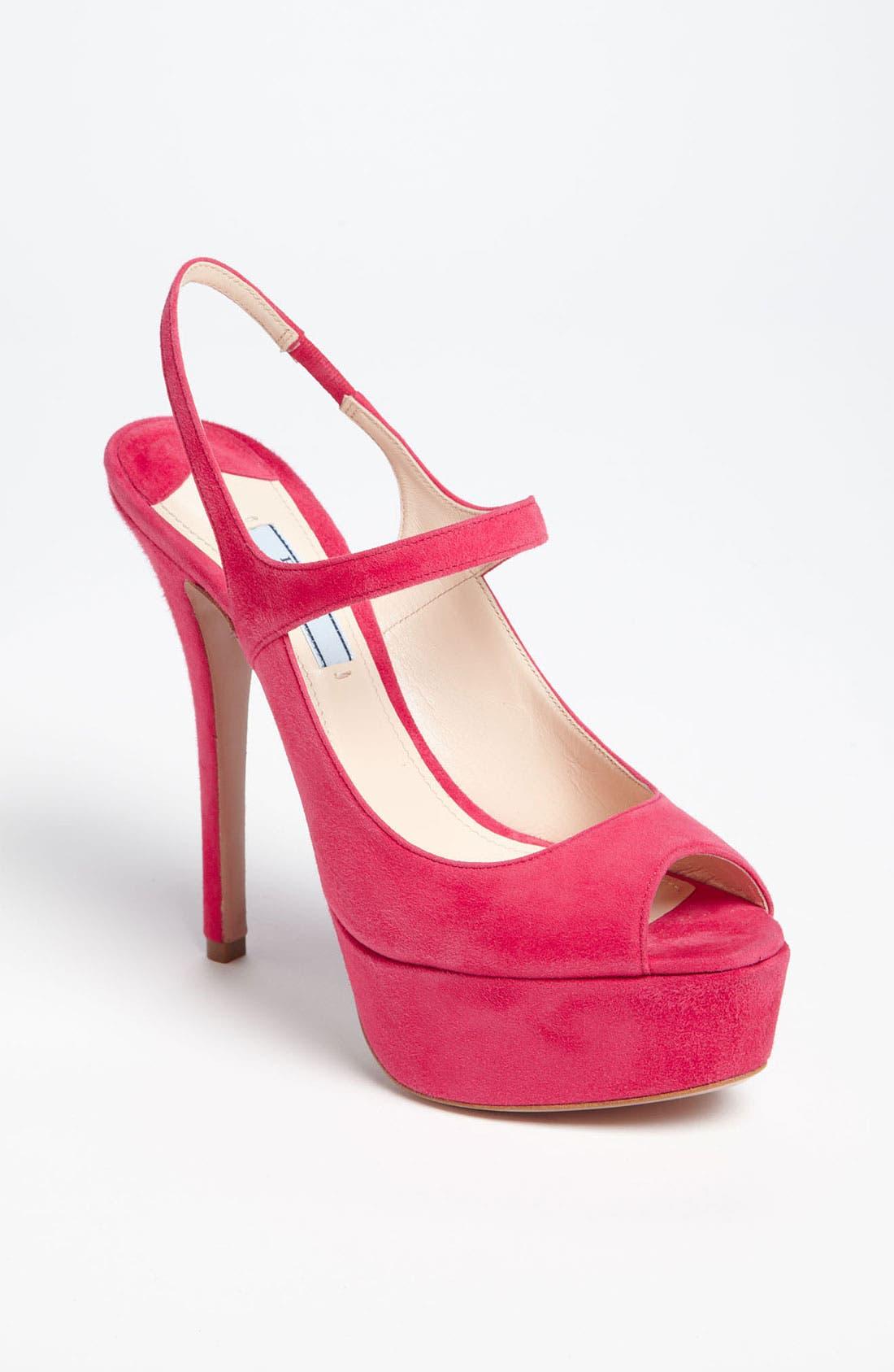 Alternate Image 1 Selected - Prada Peep Toe Slingback Sandal