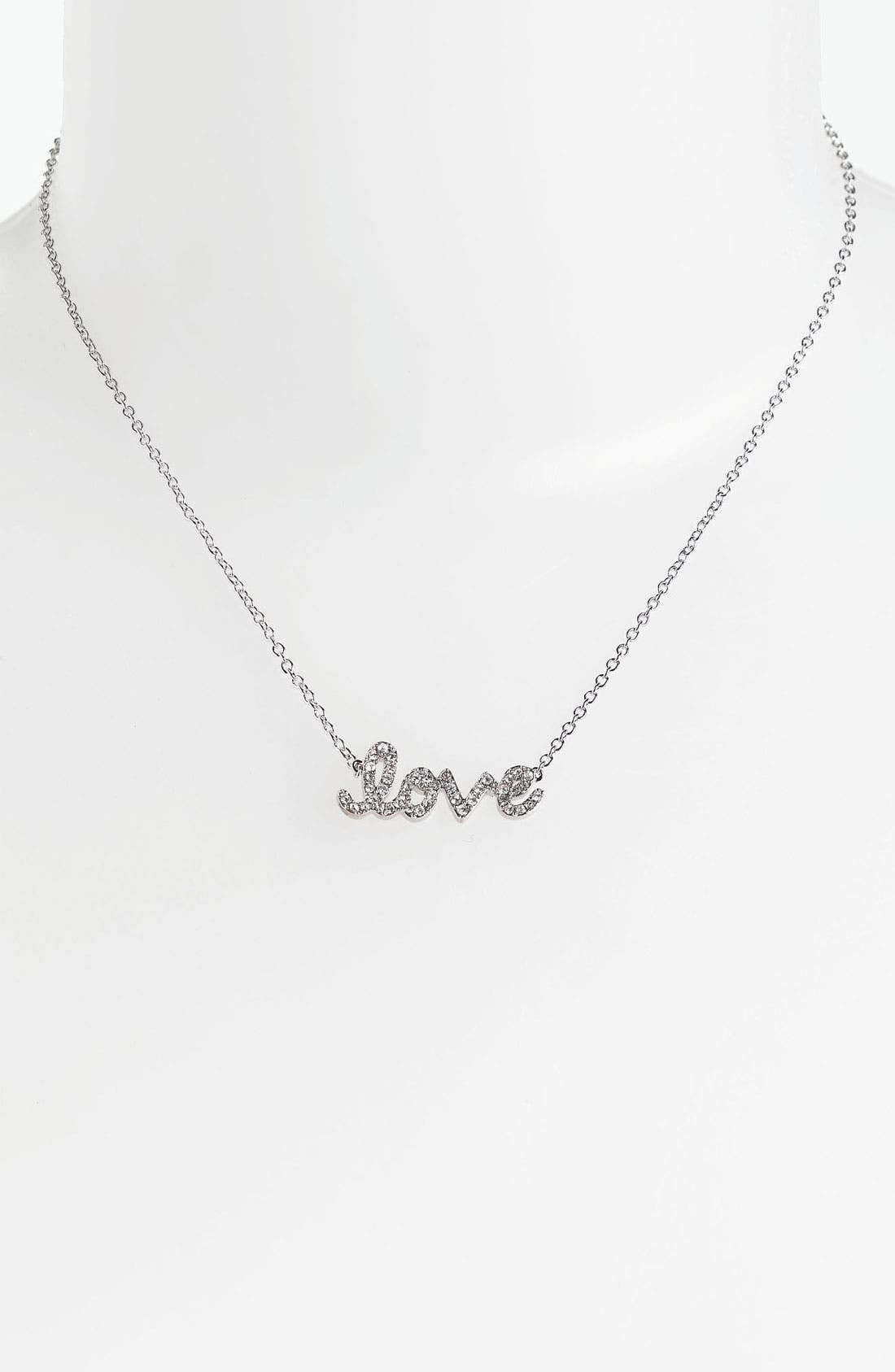 'Messages - Love' Script Pendant Necklace,                             Main thumbnail 1, color,                             Love- Silver/ Clear