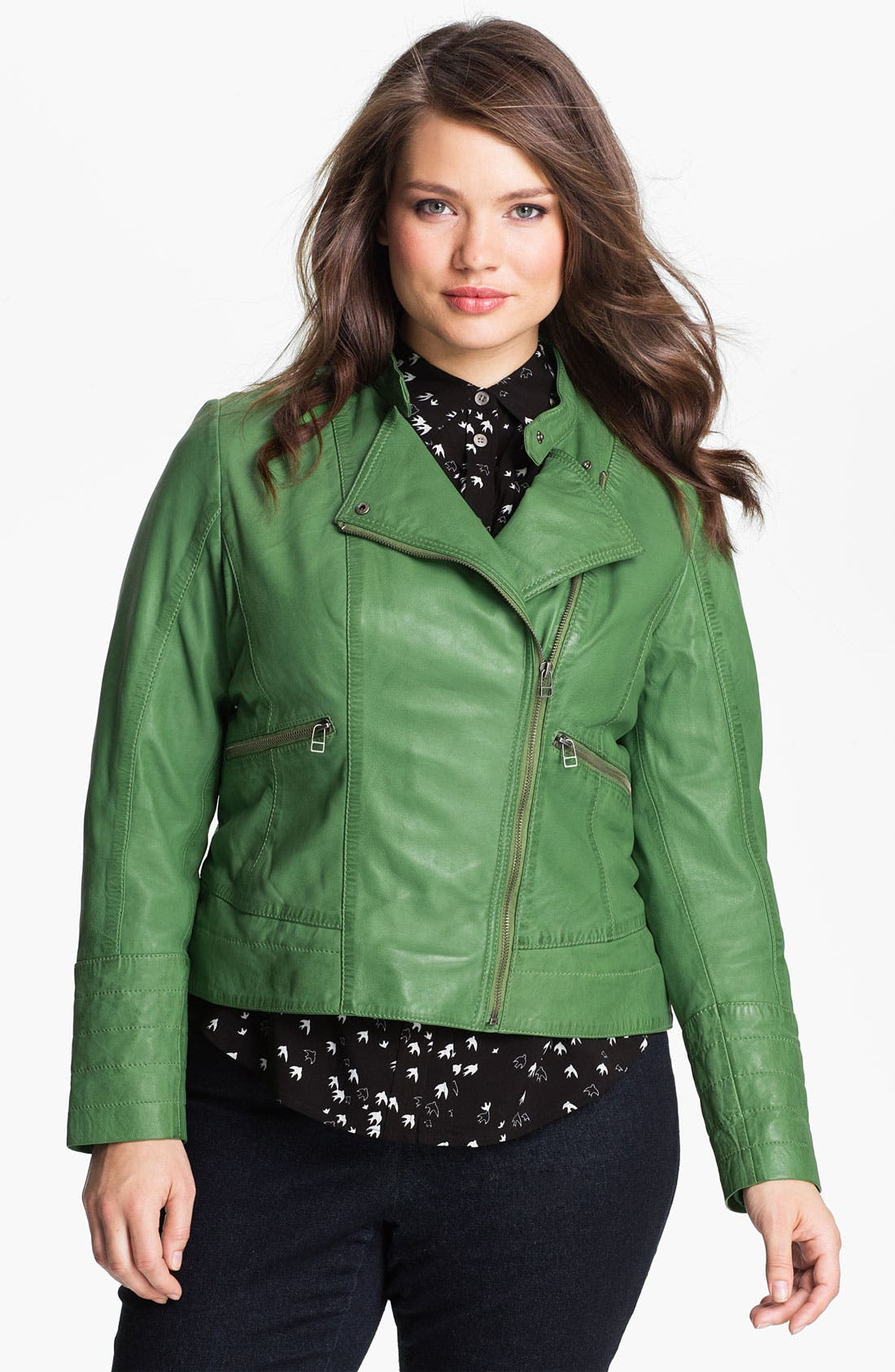 Alternate Image 1 Selected - Bernardo Leather Moto Jacket (Plus Size) (Nordstrom Exclusive)