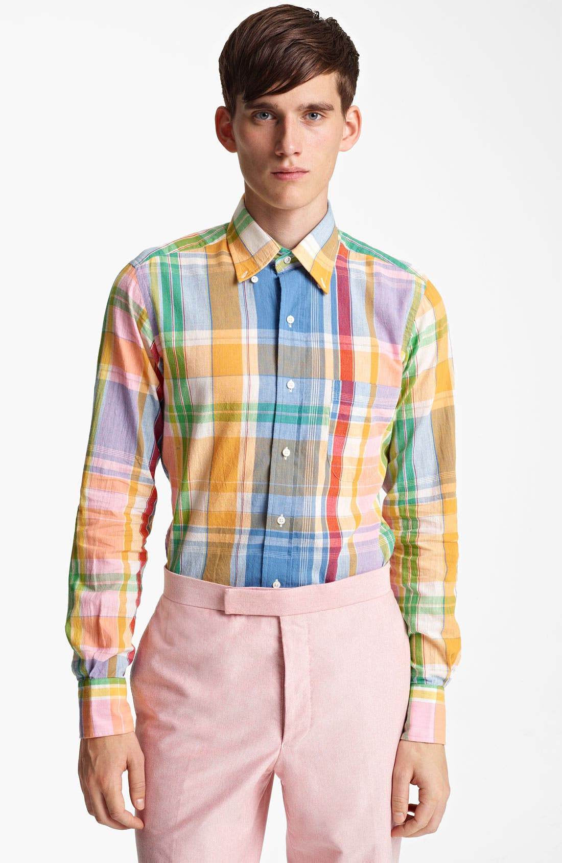 Alternate Image 1 Selected - Thom Browne Multicolor Madras Plaid Cotton Shirt