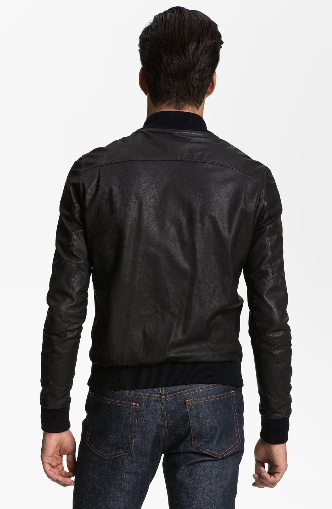 Alternate Image 2  - Band of Outsiders Leather Bomber Jacket