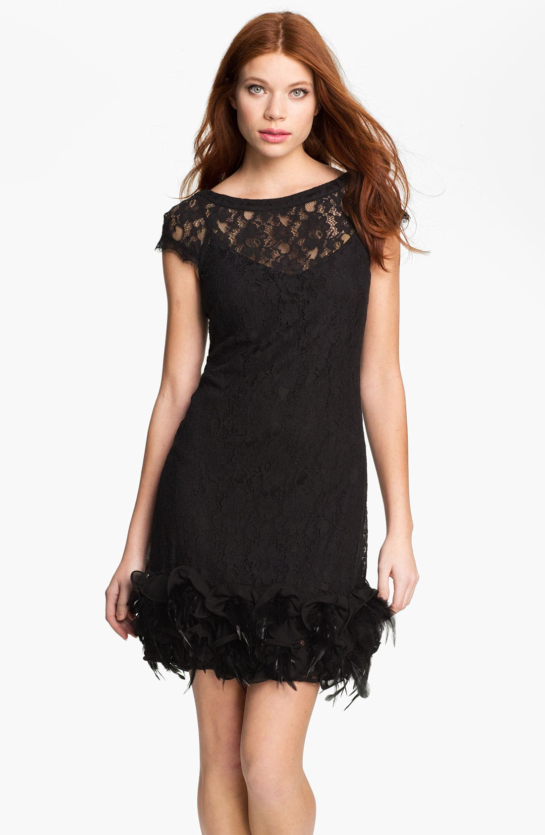 Main Image - Jessica Simpson Feather Trim Illusion Yoke Lace Dress