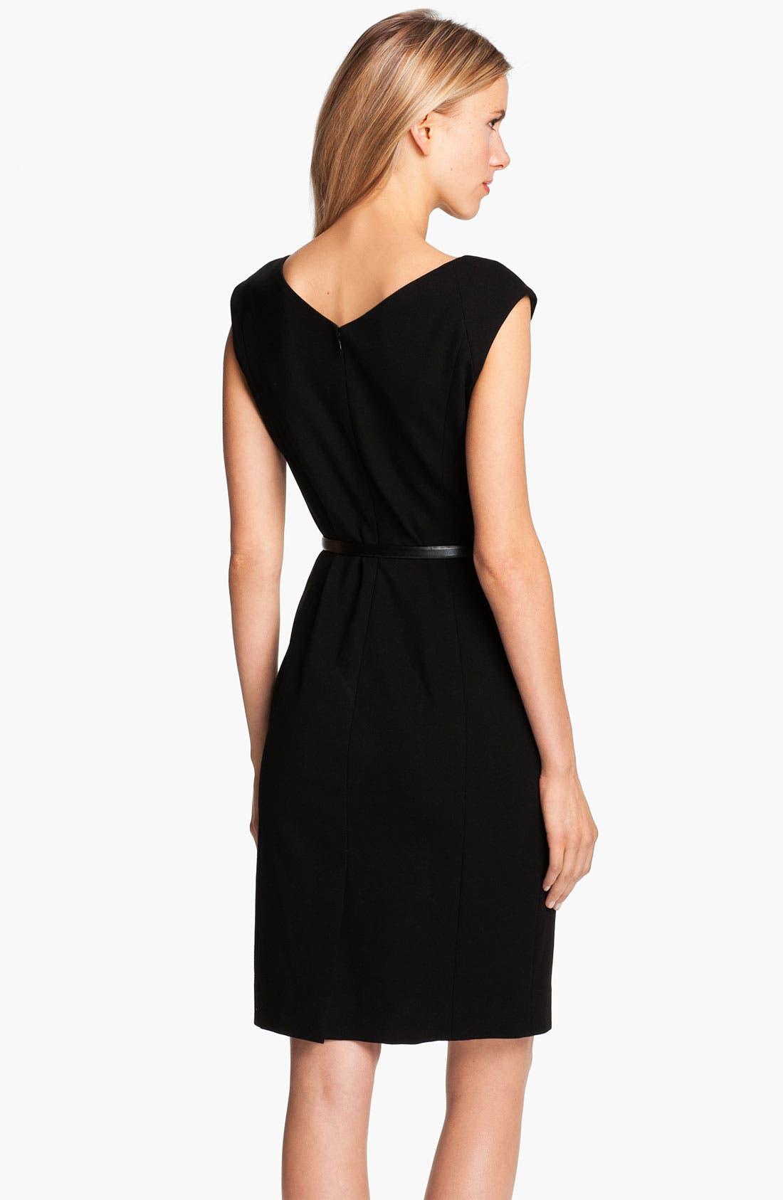 Alternate Image 2  - Classiques Entier® Belted Lace & Ponte Dress