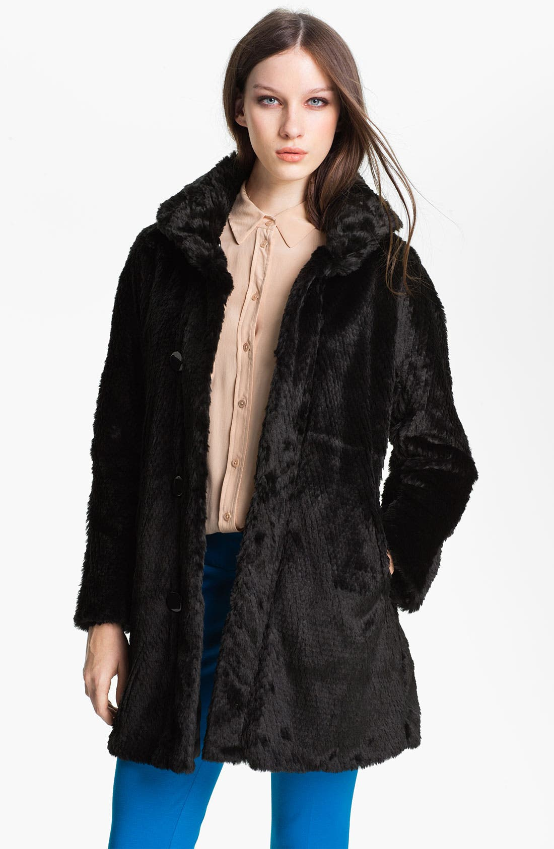 Alternate Image 2  - Ellen Tracy Reversible Faux Fur Storm Coat