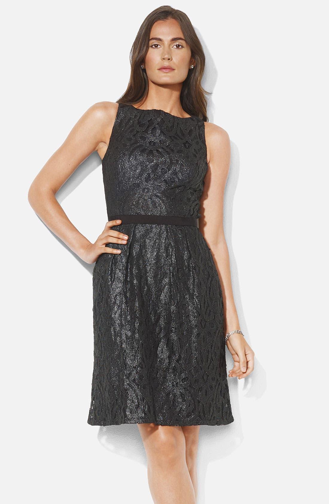 Main Image - Lauren Ralph Lauren Bateau Neck Metallic Lace Dress (Petite)