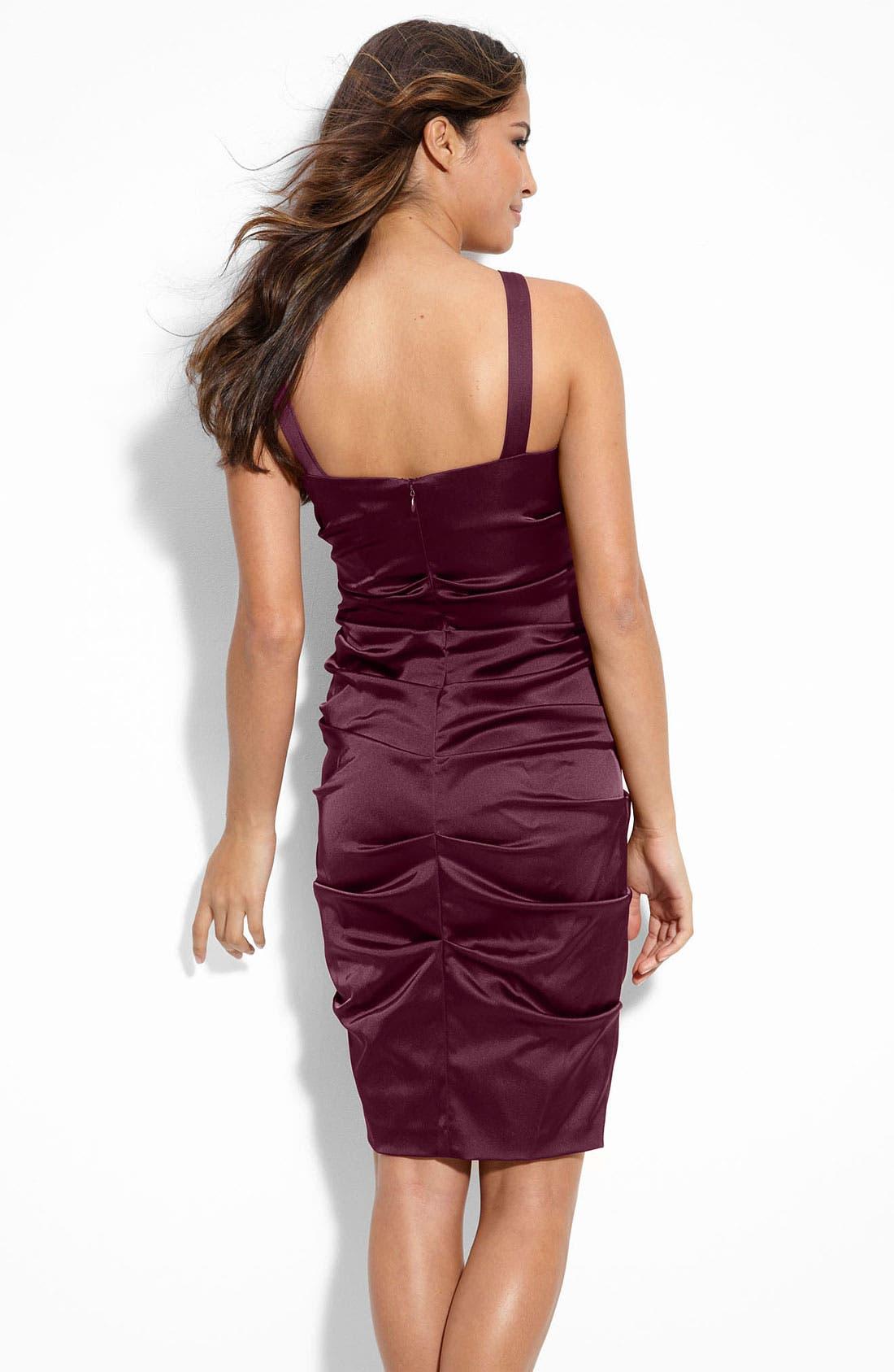 Alternate Image 2  - Xscape Ruched Stretch Satin Sheath Dress