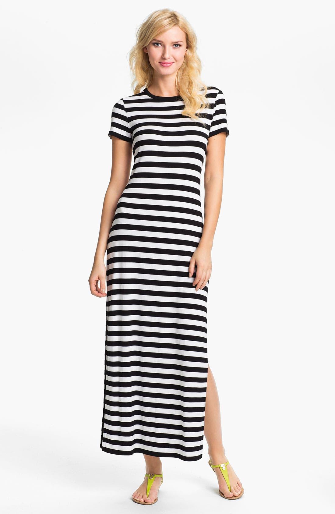 Alternate Image 1 Selected - MICHAEL Michael Kors Stripe Crewneck Maxi Dress