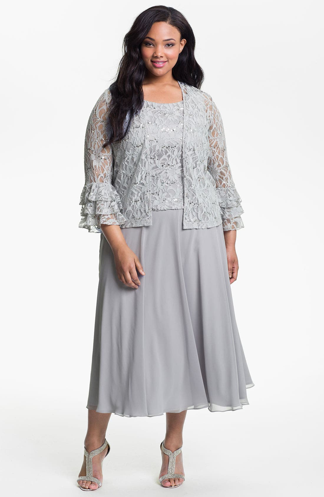 Alternate Image 1 Selected - Eliza J Lace & Chiffon Mock Two Piece Dress & Jacket (Plus)