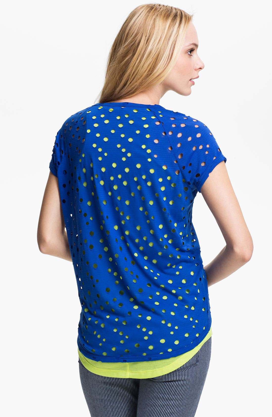 Alternate Image 2  - Two by Vince Camuto Perforated Double Layer Tee
