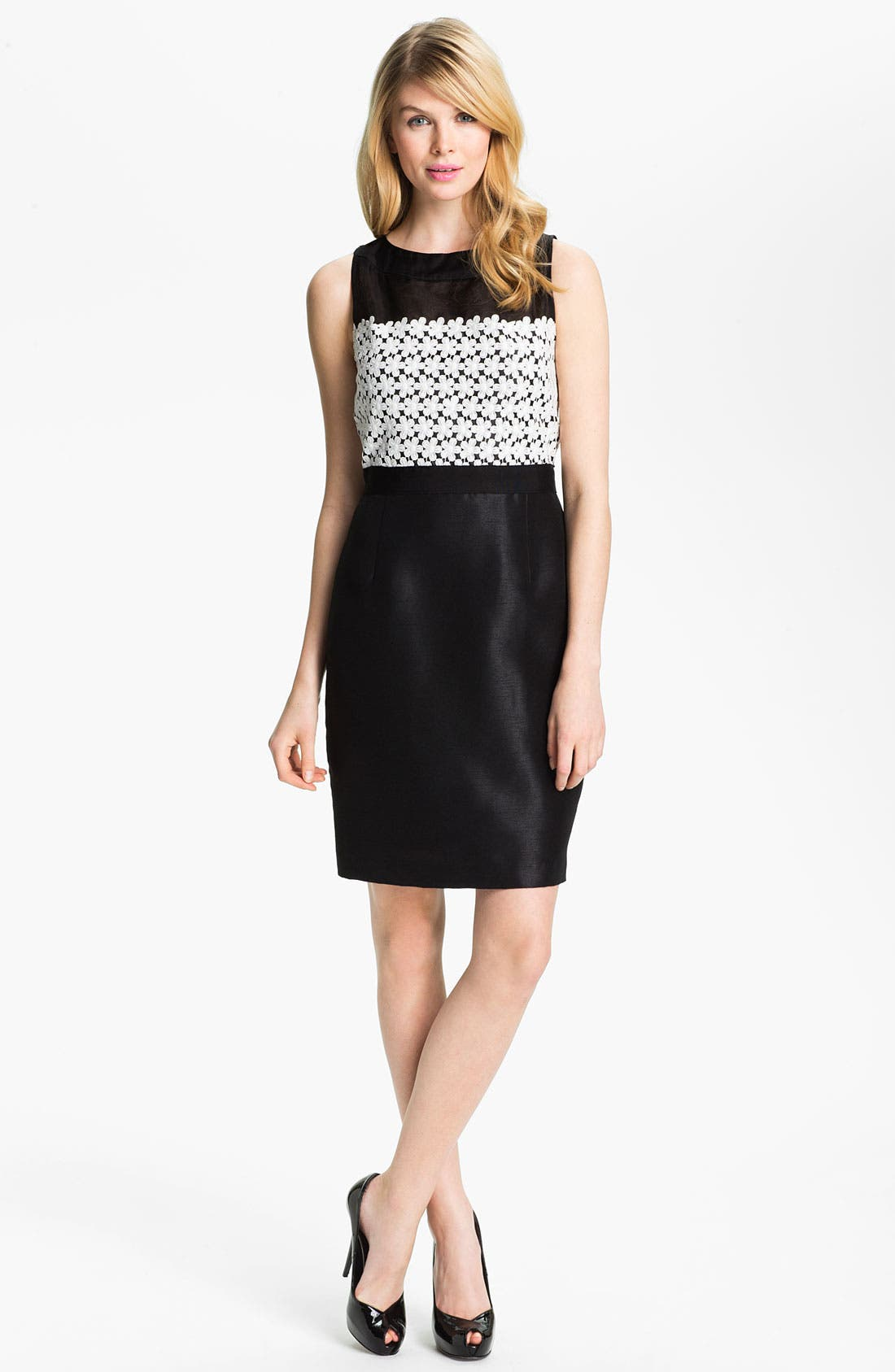 Main Image - Taylor Dresses Sleeveless Lace & Shantung Sheath Dress