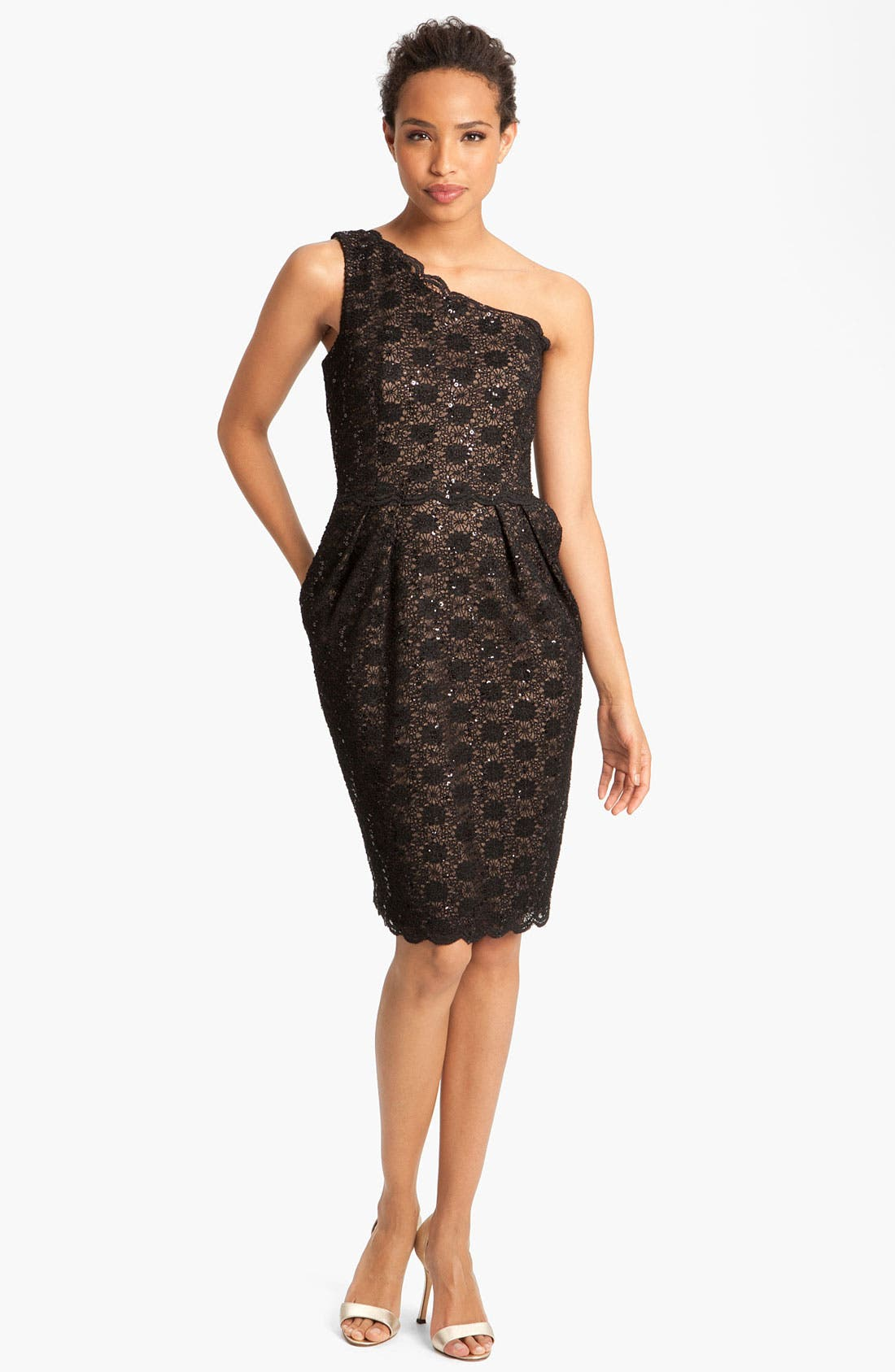 Main Image - Alex Evenings One Shoulder Lace Sheath Dress (Petite)