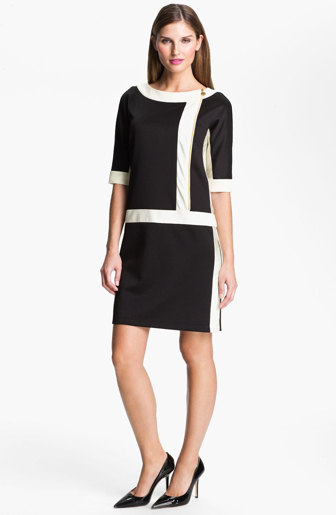 Main Image - Ellen Tracy Contrast Trim Front Zip Dress
