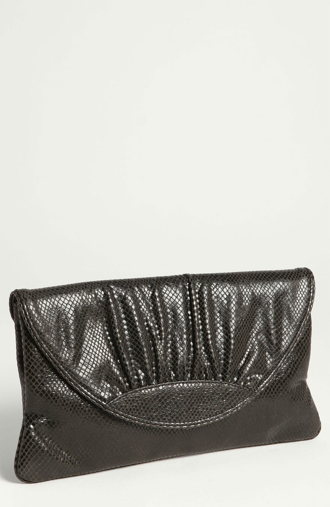 'Ava' Snake Embossed Clutch,                         Main,                         color, Black