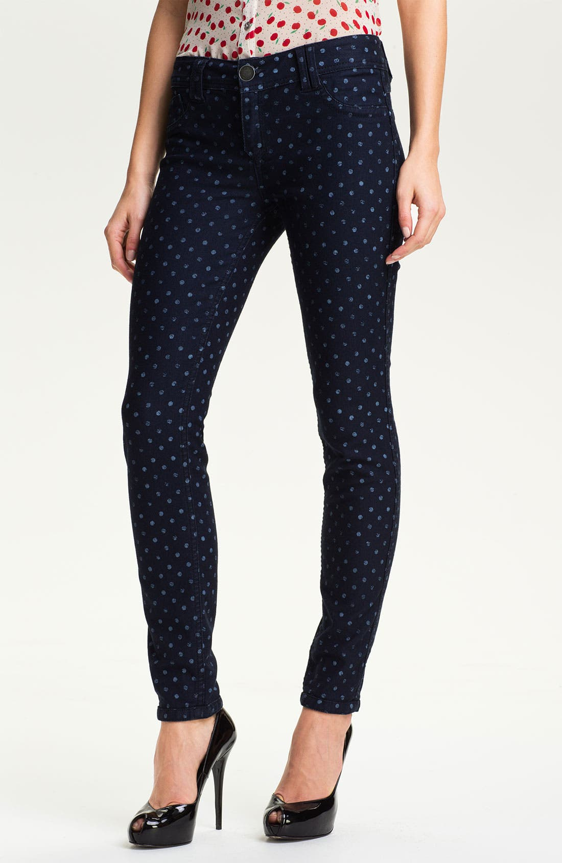 Alternate Image 1 Selected - Wit & Wisdom Reversible Dot Print Skinny Jeans (Nordstrom Exclusive)