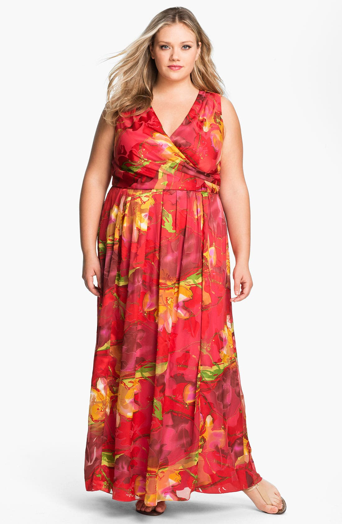 Main Image - Donna Ricco Faux Wrap Maxi Dress (Plus Size)