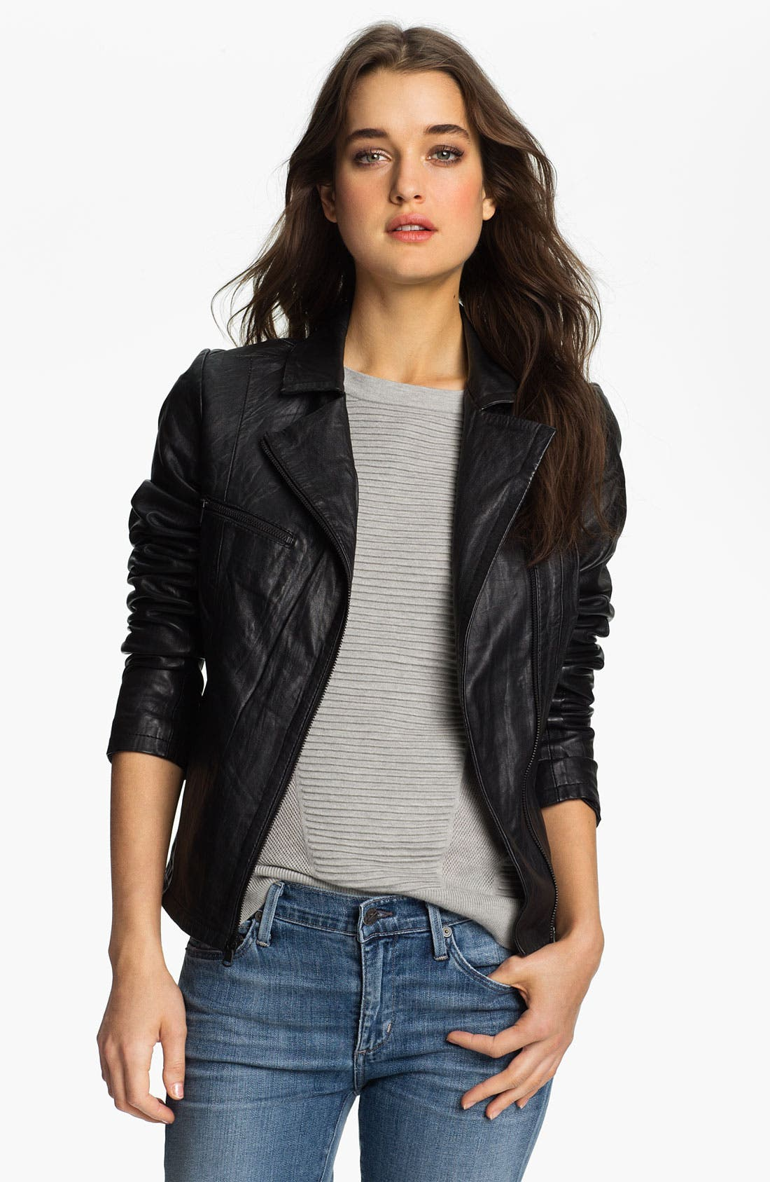 Main Image - Paige Denim 'Ridley' Leather Biker Jacket