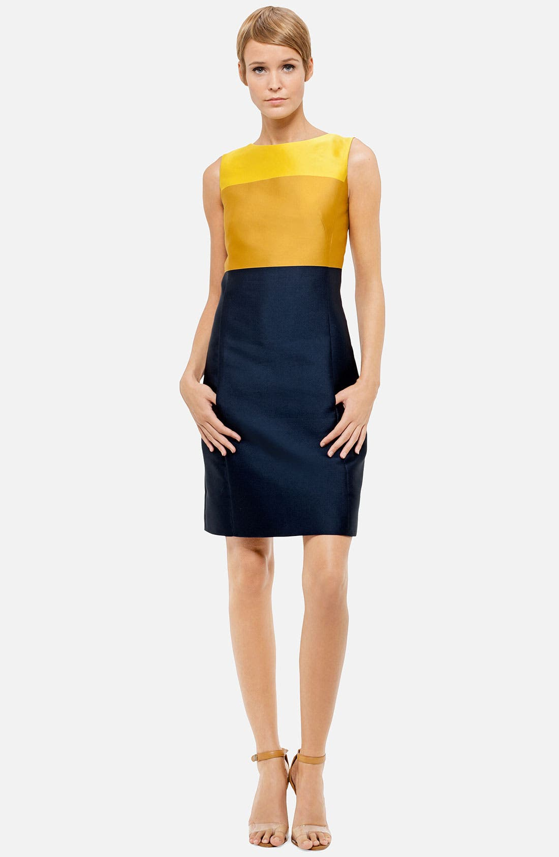 Main Image - Akris punto Tricolor Duchess Silk Dress