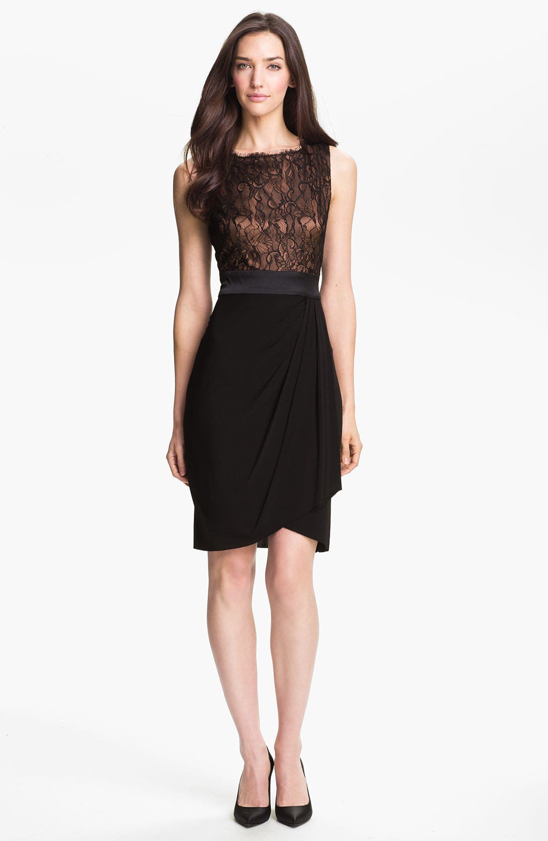 Main Image - Suzi Chin for Maggy Boutique Lace Bodice Draped Jersey Dress