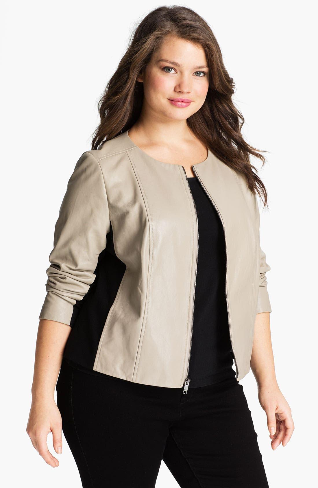 Main Image - DKNYC Knit Inset Leather Jacket (Plus)