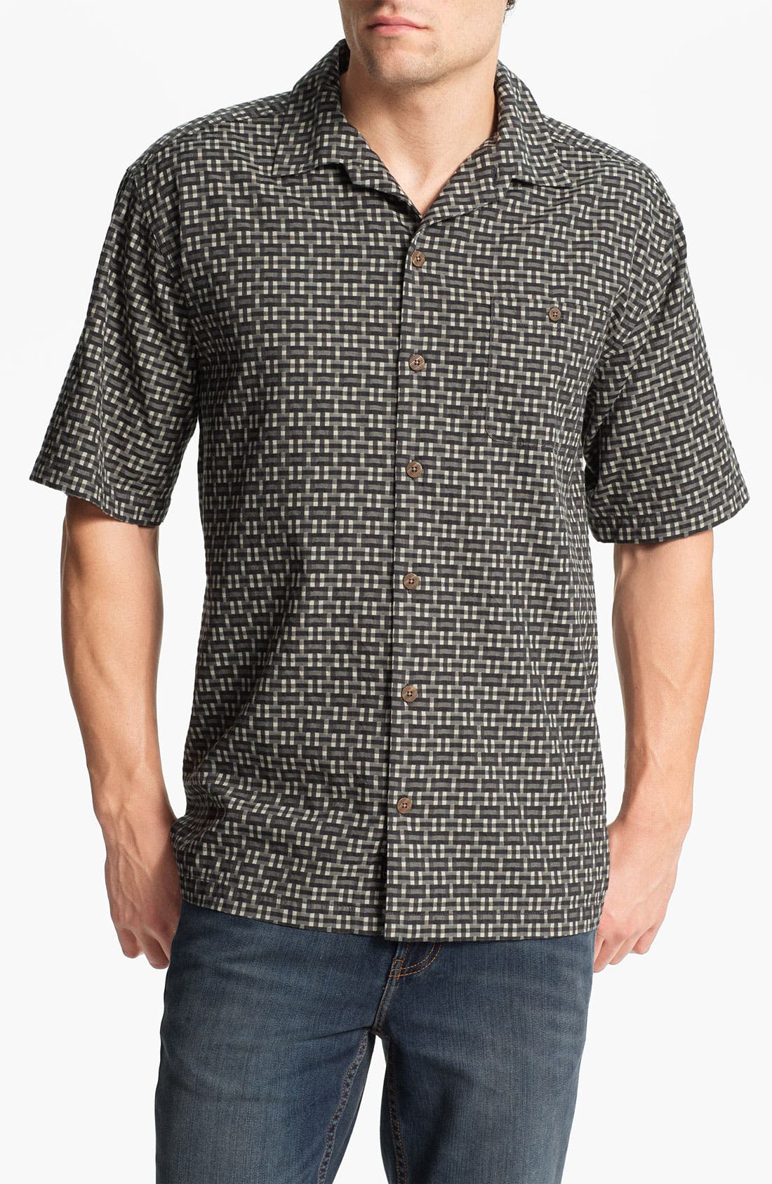 Alternate Image 1 Selected - Tommy Bahama 'Caracas Check' Silk & Cotton Campshirt