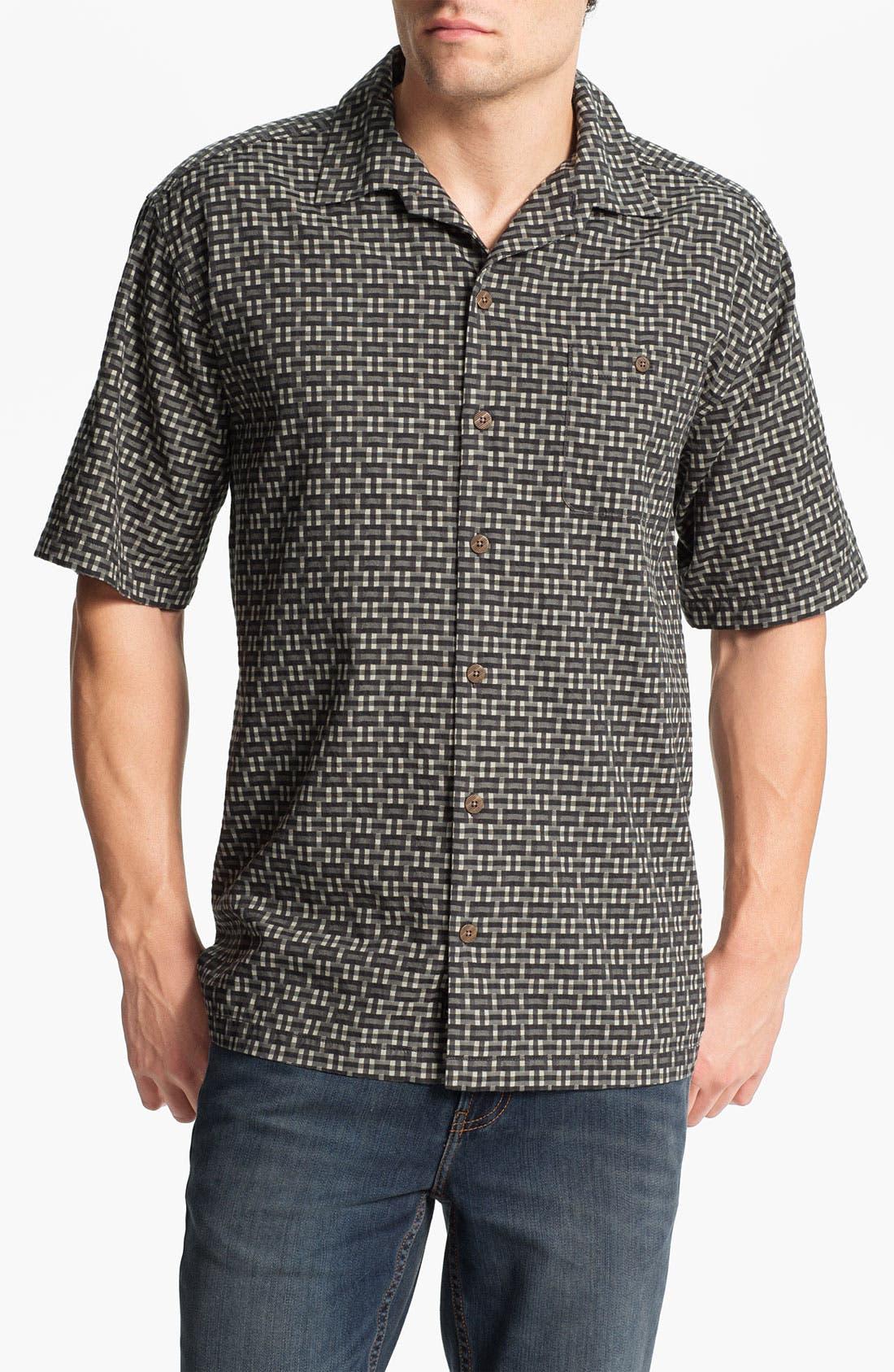 Main Image - Tommy Bahama 'Caracas Check' Silk & Cotton Campshirt