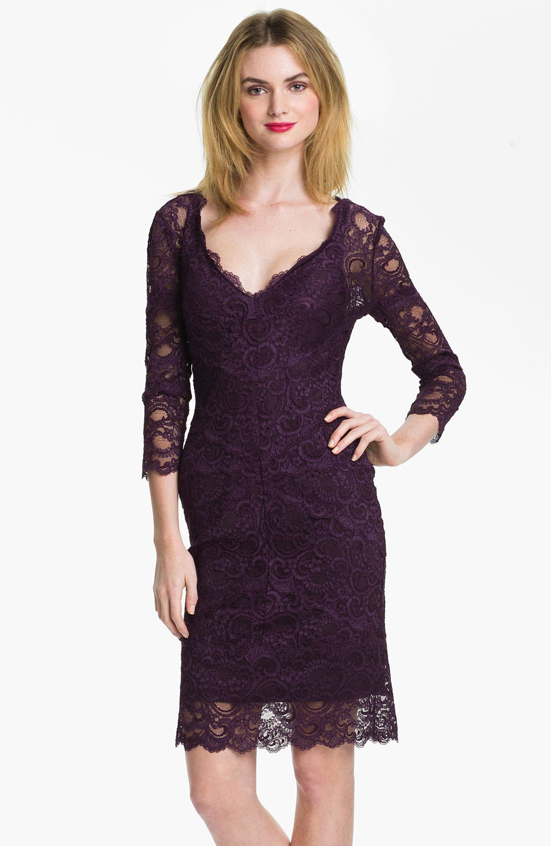 Main Image - Nicole Miller Illusion Sleeve Lace Overlay Sheath Dress