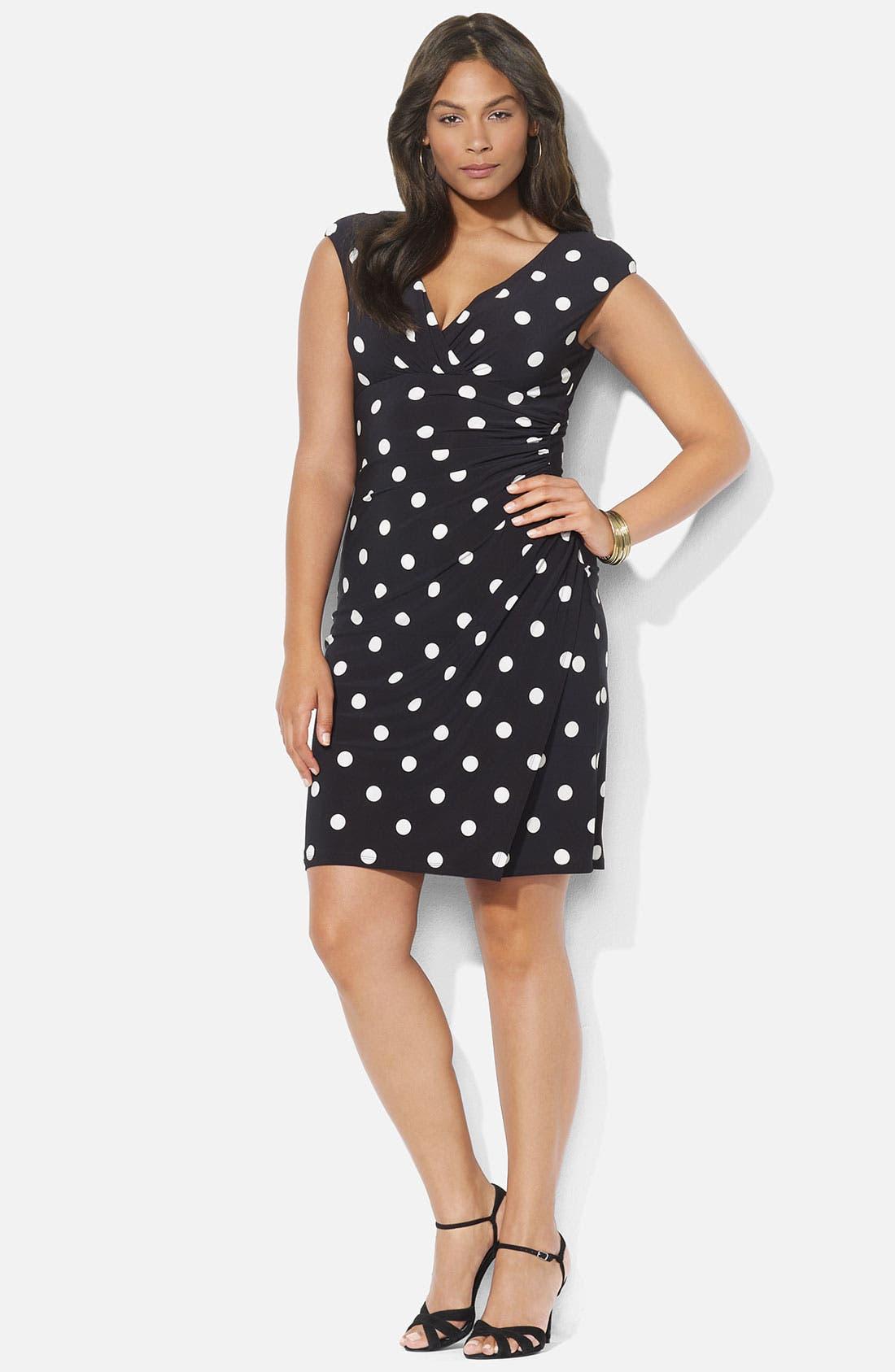 Main Image - Lauren Ralph Lauren Polka Dot Surplice Matte Jersey Sheath Dress (Plus)