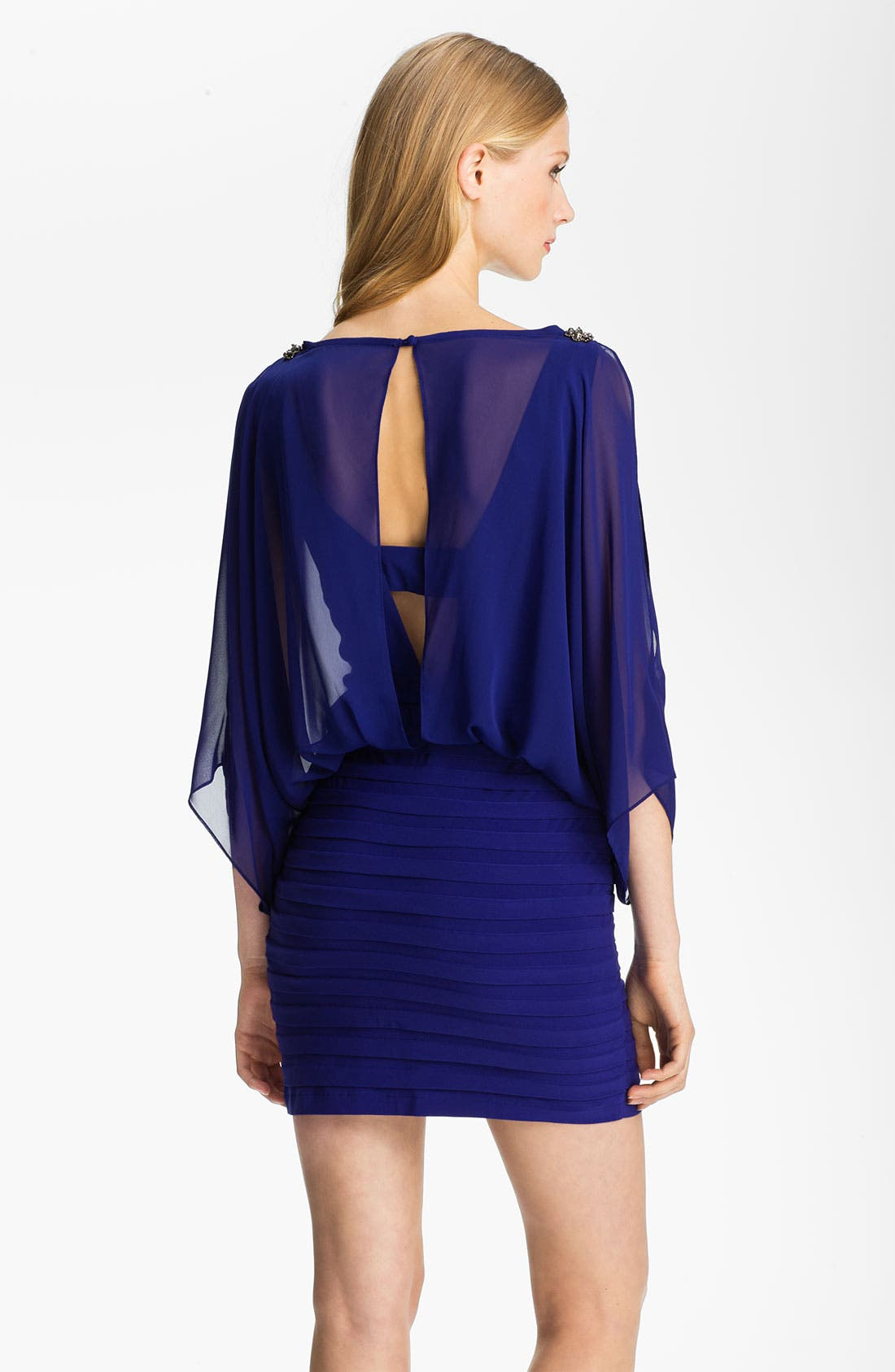 Alternate Image 2  - Xscape Embellished Shoulder Chiffon & Jersey Blouson Dress